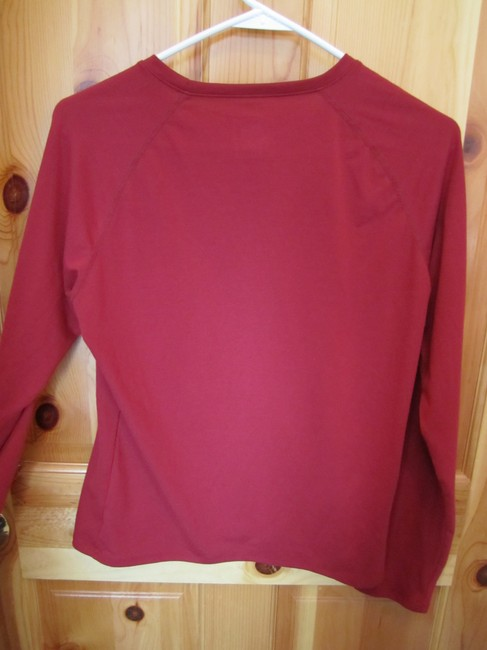Under Armour Long Sleeve Wine Red With Blue Logo T Shirt Burgundy