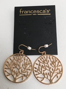 Francesca's NWT Tree of Life Gold Tone Earrings