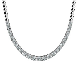 Avi and Co 4.00 cttw Round Cut Diamond Graduated Tennis Necklace F-G/VS-SI 14K White Gold