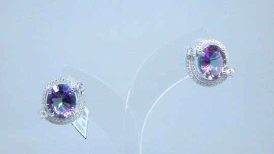 Mystic Sterling Silver. Stunning Oval shape Mystic quartz Earrings in a Push Back Design in Halo setting Image 2
