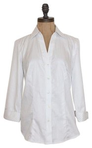 Ann Taylor Striped 3/4 Sleeve Button Down Shirt WHITE