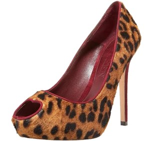 Alexander McQueen Pony Hair Heart Leopard Pumps