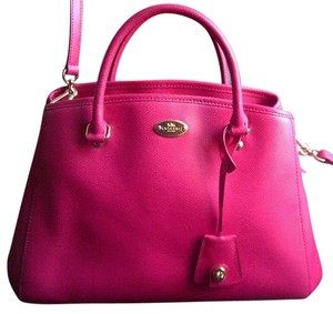 Coach Stylish Crossgrain Leather Satchel in Hot Pink