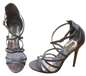 Badgley Mischka Sandal Evening Gray Silver Formal
