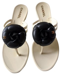 Chanel Rubber Slides Camellia Flats Jelly White Sandals