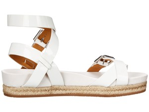 Ralph Lauren Collection Patent Leather Buckle White Sandals