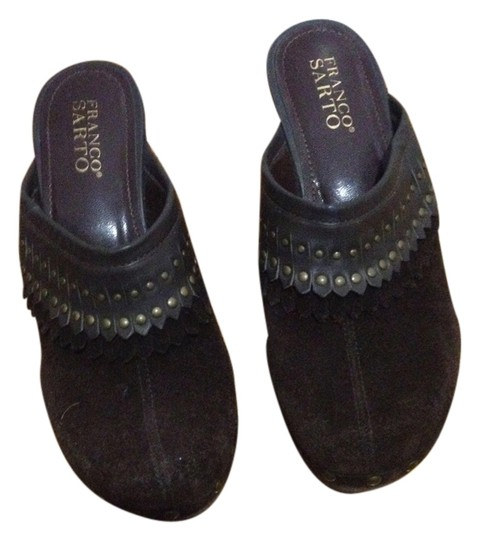 Franco Sarto Suede Studded Studs Stud Fringe Siede Chocolate Chocolate Suede Brown Mules
