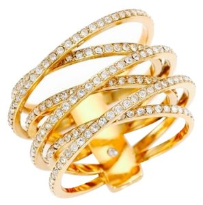 Michael Kors Michael Kors Gold Tone Clear Crystal Crisscross Crossover Ring