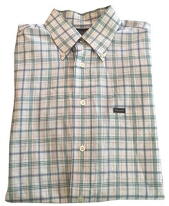 Façonnable Button Down Shirt White, green, blue checkered
