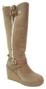 Tory Burch Tall Wedge Shearling Brown Boots