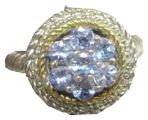 HOUSE OF TANZANITE TANZANITE Round STONE Pave ROPE Cluster RING 925 Sterling SILVER SZ 7