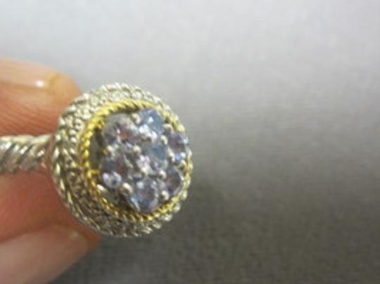 HOUSE OF TANZANITE TANZANITE Round STONE Pave ROPE Cluster RING 925 Sterling SILVER SZ 7 Image 5