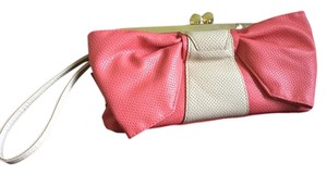 Jessica Simpson Bow Coral Pink and Beige Clutch