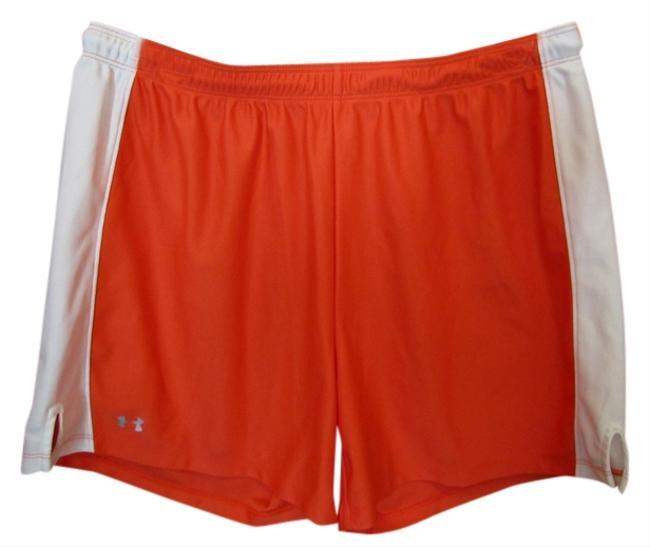 Under Armour Large Orange Logo Excercise Elastic Drawstring Shorts Coral