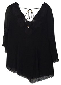 Free People Feminine Romantic Top Black