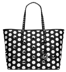 MICHAEL Michael Kors Jet Set Dot Studded Tote in Black White