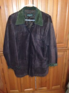 Bushwacker Brown suede with hunter green cuffs/collar Leather Jacket
