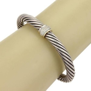 David Yurman David Yurman 7mm Cable Classic Bangle With Diamonds Sterling Silver 18k Gold