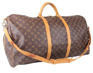 Louis Vuitton Keepall Travel Luggage Monogram Bandouliere Brown Monogram Travel Bag