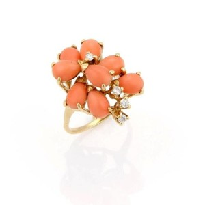 Estate 14k Gold Pear Shaped Coral Cabochon Diamond Cocktail Ring