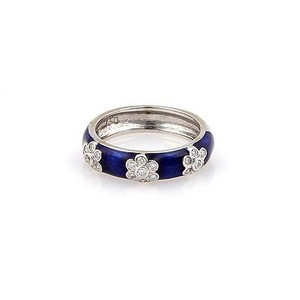 Hidalgo Hidalgo 18k White Gold Blue Enamel With Diamonds Stacking Ring Band -size 6.25