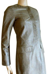 BCBG Max Azria BCBG MAX AZRIA TART LEATHER SNAKE PRINT JACKET TRENCH COAT