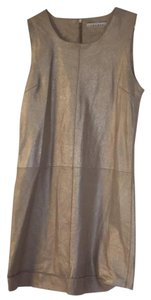 Sandro short dress Gold lame leather on Tradesy