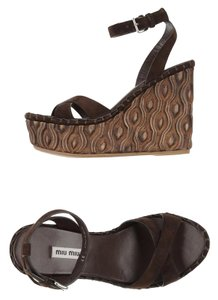 Miu Miu Suede Spring Summer Dark Brown Wedges