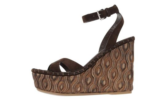 Miu Miu Suede Spring Summer Dark Brown Wedges Image 1