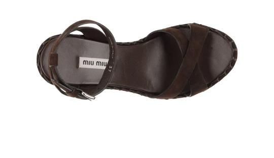 Miu Miu Suede Spring Summer Dark Brown Wedges Image 2
