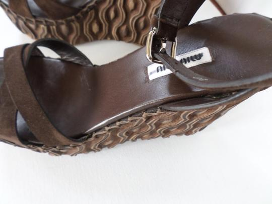 Miu Miu Suede Spring Summer Dark Brown Wedges Image 5