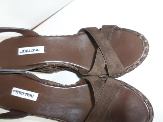 Miu Miu Suede Spring Summer Dark Brown Wedges Image 3