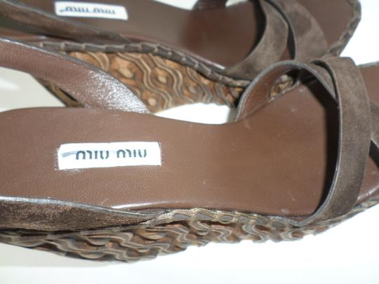 Miu Miu Suede Spring Summer Dark Brown Wedges Image 6