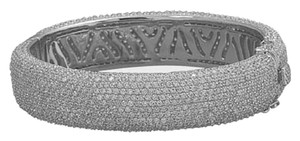 Other Rhodium Plated Sterling Silver Hinged CZ Bangle
