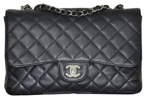 Chanel Jumbo Classic Flap Caviar Leather Handbag Shoulder Bag
