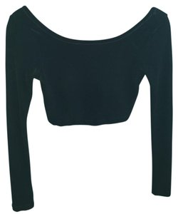 LOVE TEASE Long Sleeve Crop Velvet Xxs Top Black