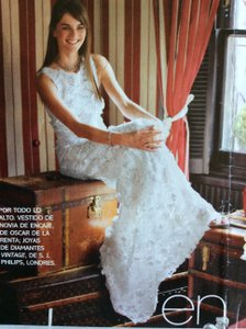 Oscar De La A White Guipure Lace 72n11x 43 Feminine Wedding Dress Size 10 M