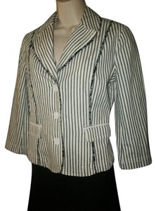 Ann Taylor LOFT Stripes White Black Blazer