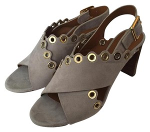 Chloé Eyelet Scallop Chloe Wooden Heel Grey Sandals