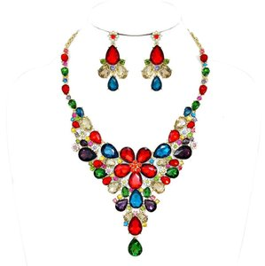 Candy Crush Teardrop Floral Rhinestone Crystal Necklace and Earrings