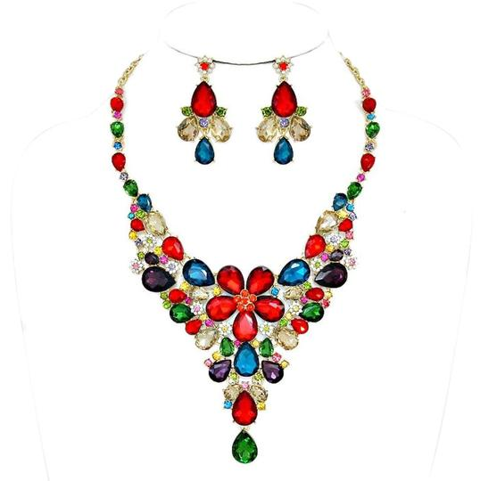 Preload https://img-static.tradesy.com/item/17687608/multicolored-gold-candy-crush-teardrop-floral-rhinestone-crystal-and-earrings-necklace-0-1-540-540.jpg