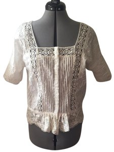 Free People Peplum Lace Lace Trim Top Snow