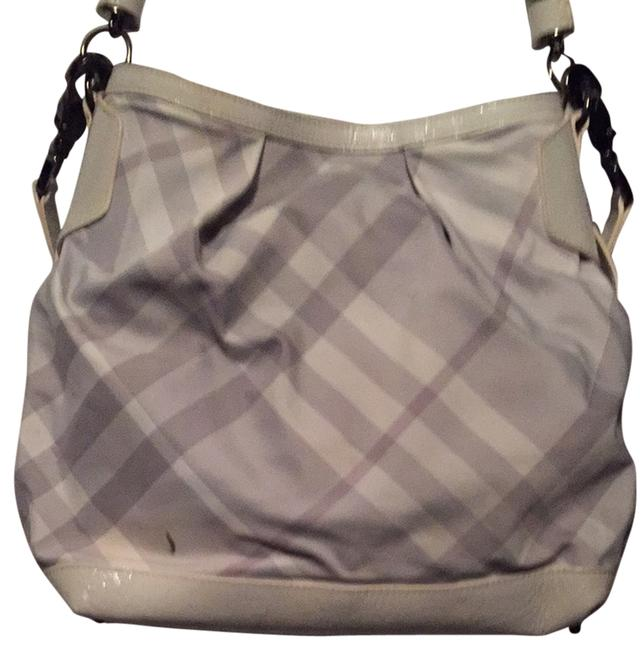 Item - White Gray Red Canvas Hobo Bag