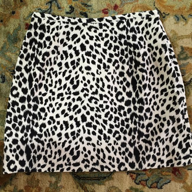 Ann Taylor LOFT Vintage Suede Mini Party Mini Skirt Black and Cream Animal Print Image 1