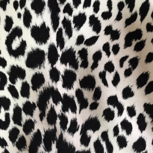 Ann Taylor LOFT Vintage Suede Mini Party Mini Skirt Black and Cream Animal Print Image 2