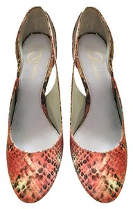 Delman Womens Leather Slingback Red snakeskin Pumps