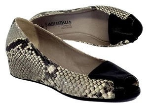 Aquatalia by Marvin K. Black Beige Reptile Leather Low Wedges