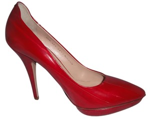 Bally Eelskin Leather Platform Vamp Stann Model Red Pumps