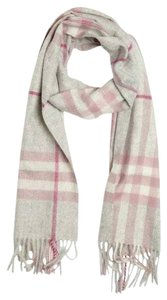 Burberry Authentic Burberry pink and grey Cashmere scarf