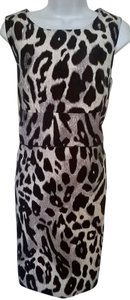 Ann Taylor Animal Print Sheath Boatneck Dress